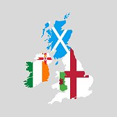 United Kingdom countries and Ireland political map. England, Scotland, Wales, Northern Ireland and Ireland.