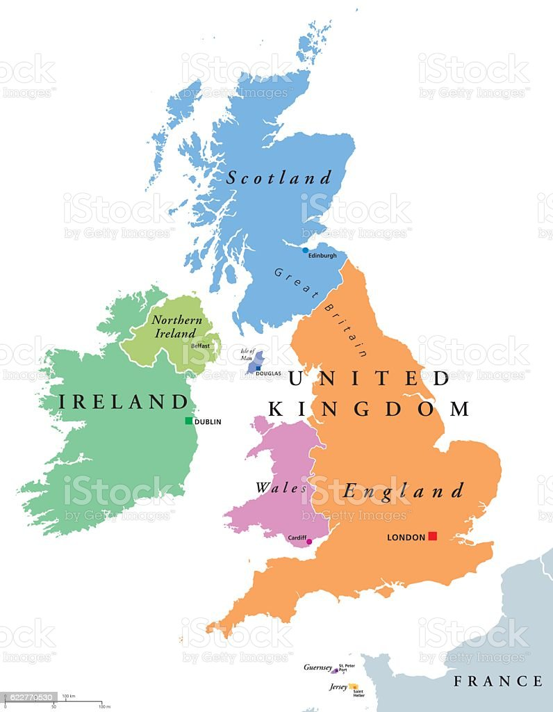United Kingdom countries and Ireland political map vector art illustration