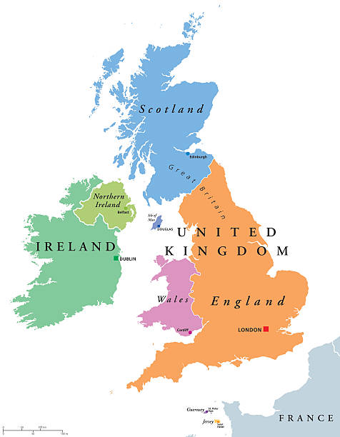 united kingdom countries and ireland political map - wales stock illustrations, clip art, cartoons, & icons