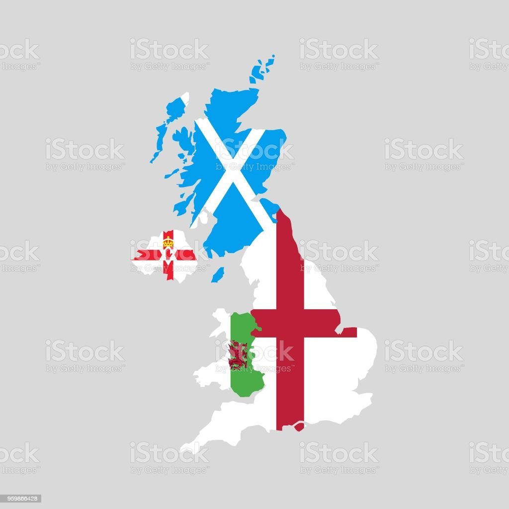 Map Of England Scotland And Ireland.United Kingdom Countries Political Map England Scotland Wales