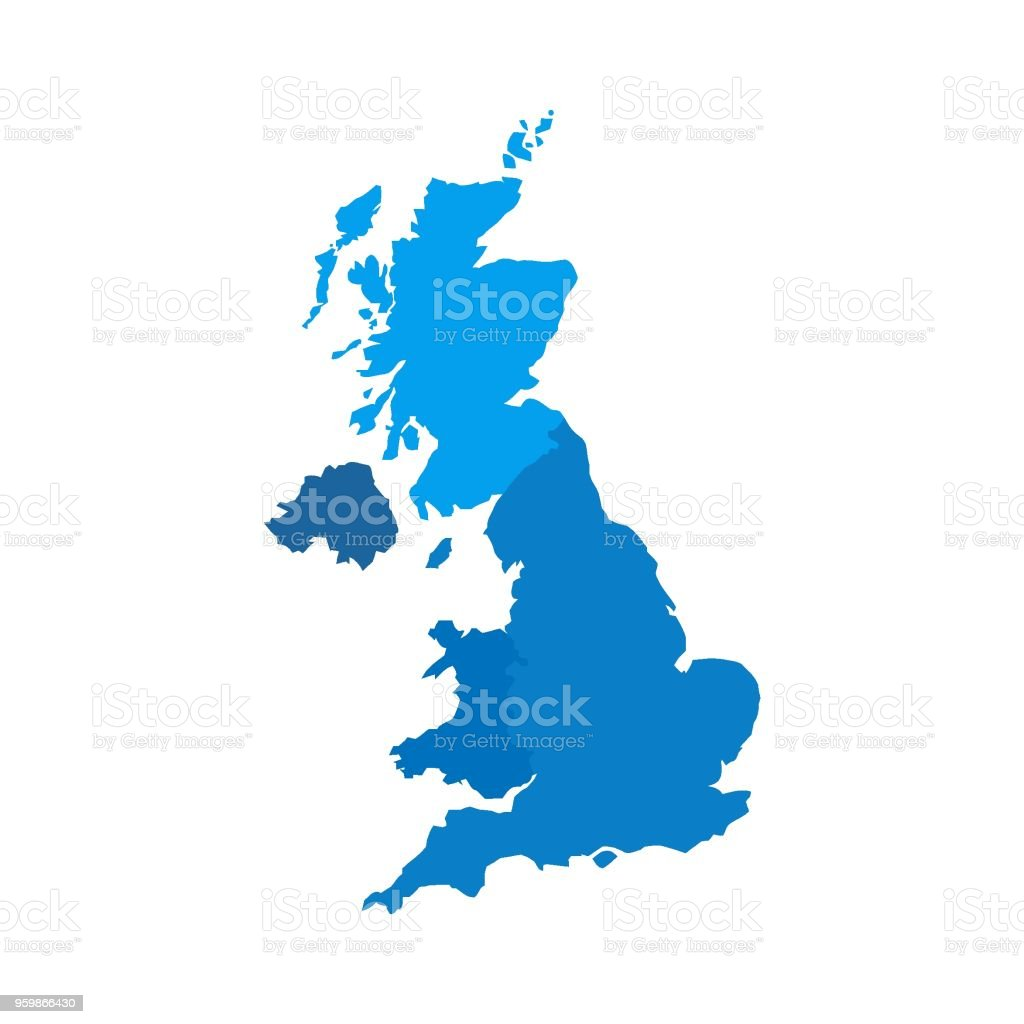 United Kingdom Countries Political Map England Scotland Wales