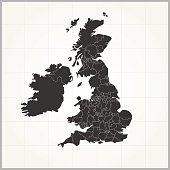 United Kingdom dark map on light grey grid background