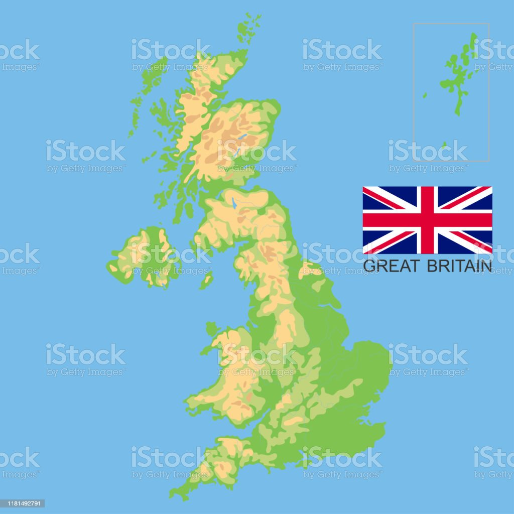 Picture of: United Kingdom Detailed Physical Map Of The Great Britain Colored According To Elevation With Rivers Lakes Mountains Vector Map With National Flag Stock Illustration Download Image Now Istock