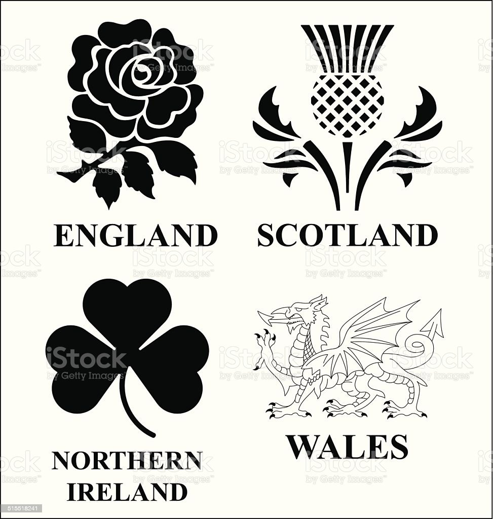 United Kingdom emblems vector art illustration