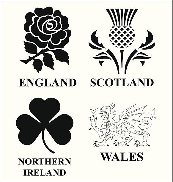 United Kingdom emblems United Kingdom monochrome emblem set isolated on white background welsh culture stock illustrations