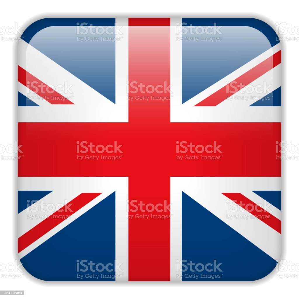 United Kingdom England Flag Smartphone Application Square Button vector art illustration