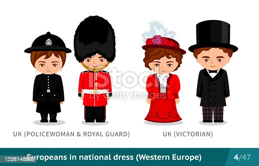 Set of european people wearing ethnic clothing. Cartoon characters. Vector flat illustration.