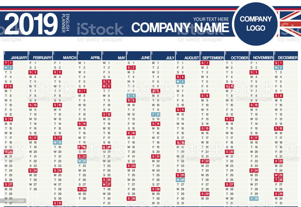 Calendrier Feries 2019.2019 Royaumeuni Anglais Calendrier Planificateur Avec