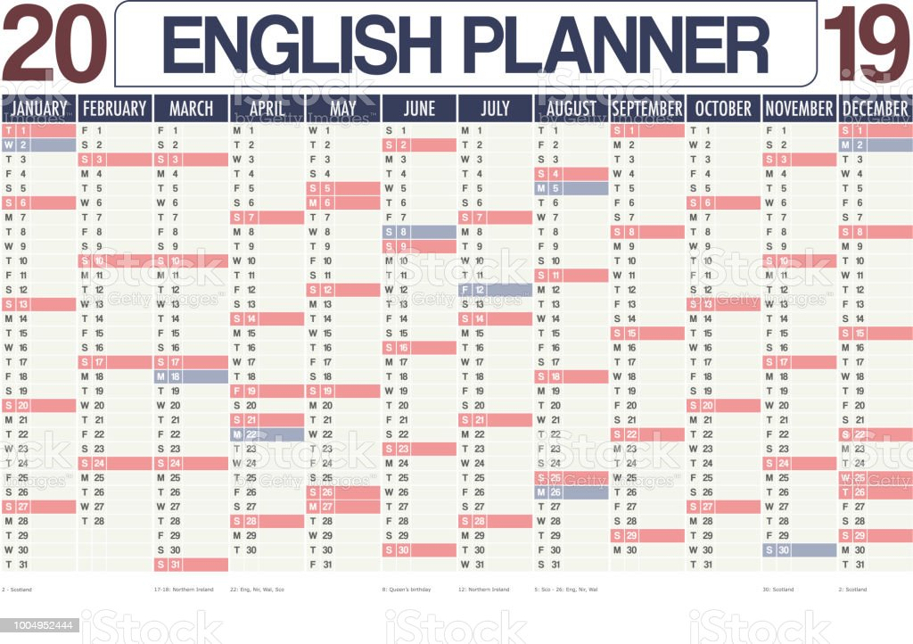 2019 united kingdom english planner calendar with vertical months note space and holidays for england