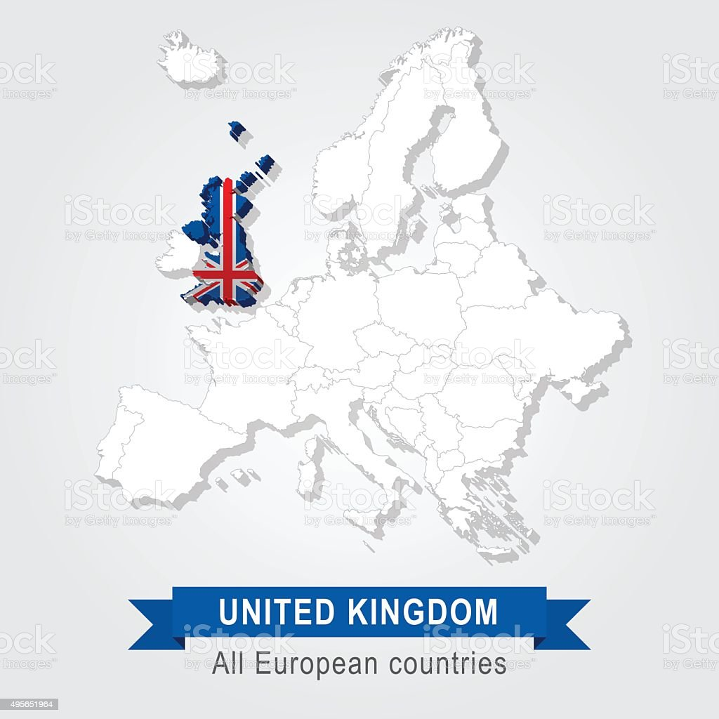United Kingdom. Europe administrative map. vector art illustration