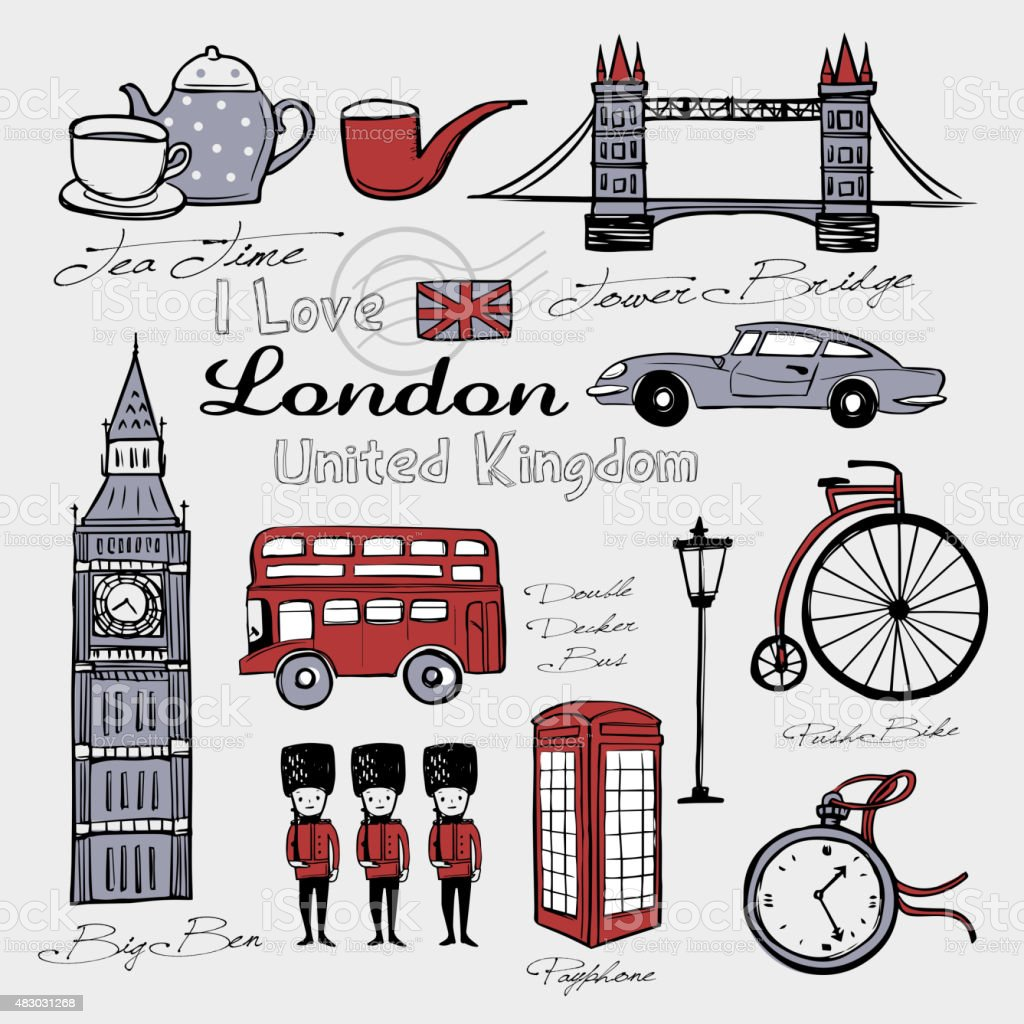 United Kingdom famous things and landscapes vector art illustration