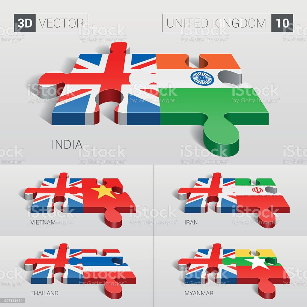 United Kingdom Flag. 3d vector puzzle. Set 10. vector art illustration