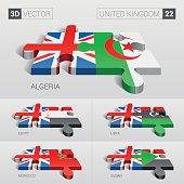 United Kingdom Flag. 3d vector puzzle. Set 22.