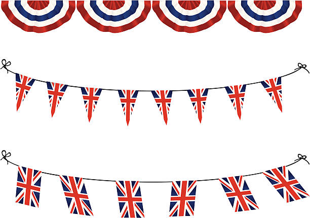 united kingdom flag bunting - heather mcgrath stock illustrations