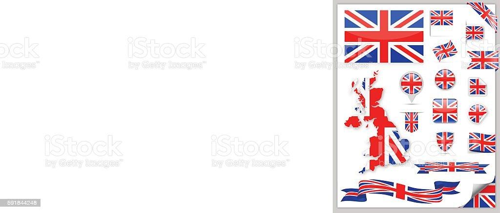 United Kingdom Flag Collection vector art illustration