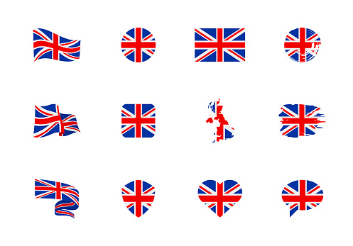 United Kingdom flag - flat collection. Flags of different shaped twelve flat icons.