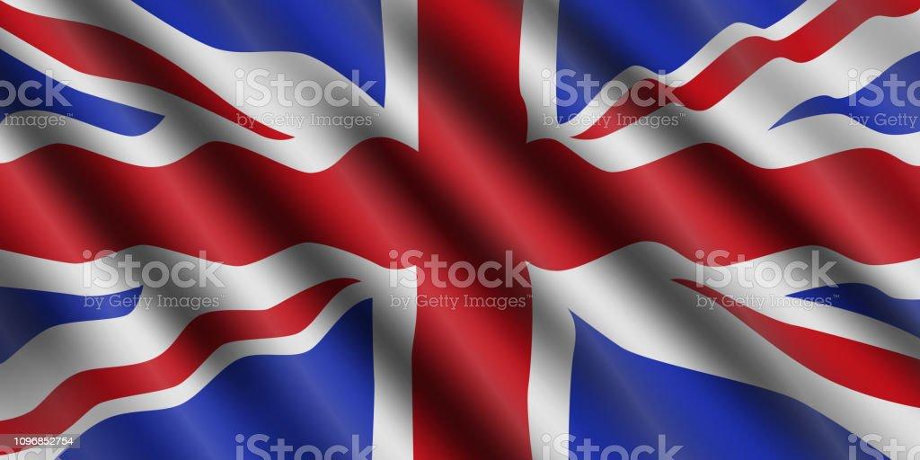 Reino Unido bandeira fluindo do fundo. Grã-Bretanha. Ilustração em vetor. - ilustração de arte em vetor