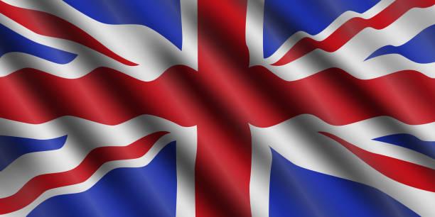 ilustrações, clipart, desenhos animados e ícones de reino unido bandeira fluindo do fundo. grã-bretanha. ilustração em vetor. - bandeira union jack