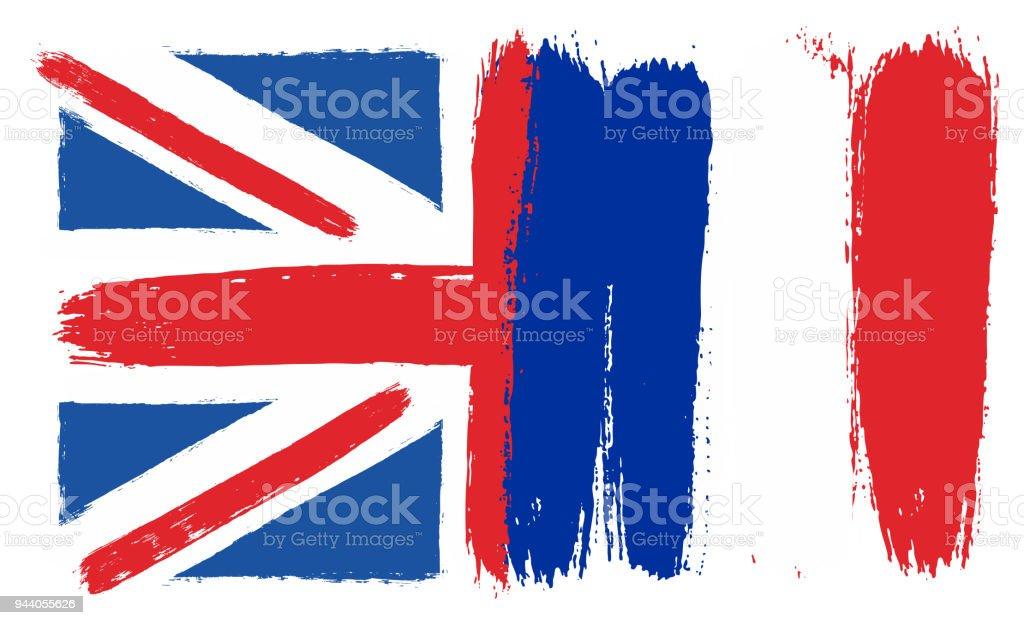 Ingiltere Bayrak Ve Fransa Bayrağı Vektör El Yuvarlak Fırça Ile