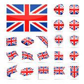 United Kingdom - Flag Icon Glossy Vector Set