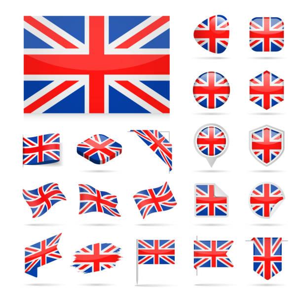 illustrations, cliparts, dessins animés et icônes de royaume-uni - flag icon set vector brillant - drapeau du royaume uni