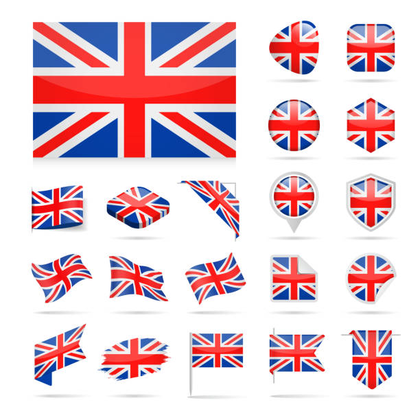 united kingdom - flag icon glossy vector set - uk flag stock illustrations, clip art, cartoons, & icons