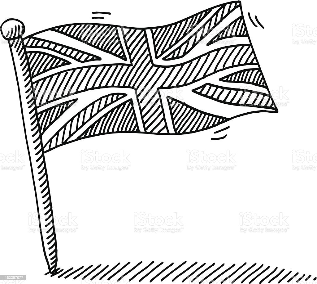 United Kingdom Flag Pin Drawing vector art illustration