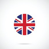United Kingdom flag round icon. UK flag icon official color