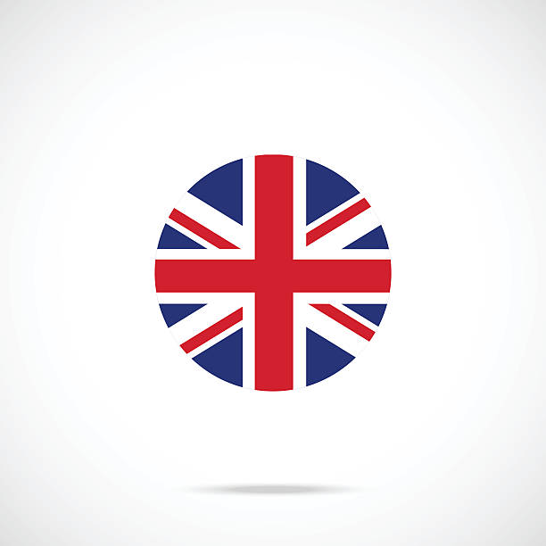united kingdom flag round icon. uk flag icon official color - union jack flag stock illustrations, clip art, cartoons, & icons