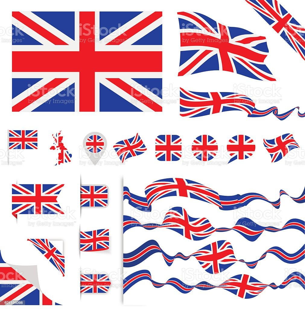 United Kingdom Flag Set vector art illustration