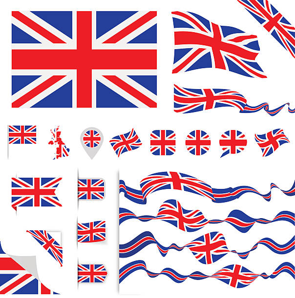 united kingdom flag set - union jack flag stock illustrations, clip art, cartoons, & icons