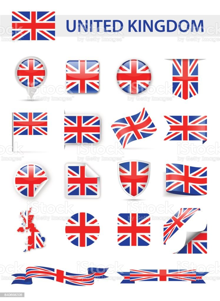United Kingdom Flag Vector Set vector art illustration