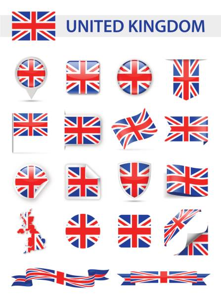 united kingdom flag vector set - union jack flag stock illustrations, clip art, cartoons, & icons