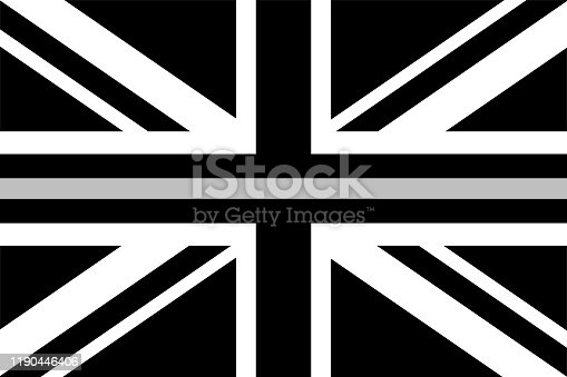 United Kingdom flag with a thin gray or silver - a sign to honor and respect British correctional officers, prison guards and jailers
