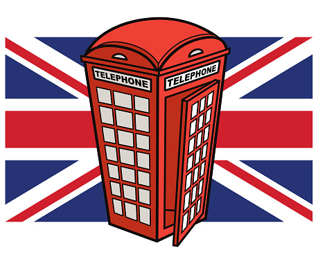 United Kingdom Flag with Red Telephone Booth
