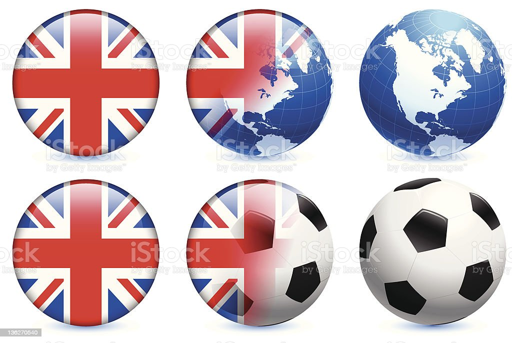 United Kingdom Flag with Soccer ball and Globe royalty-free stock vector art
