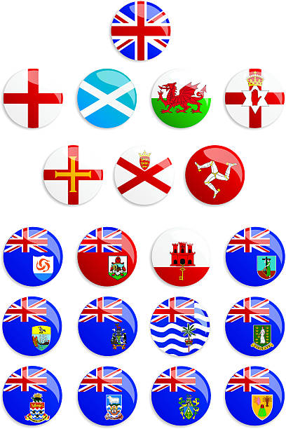 united kingdom flags buttons - wales stock illustrations, clip art, cartoons, & icons