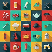United Kingdom Flat Design Icon Set