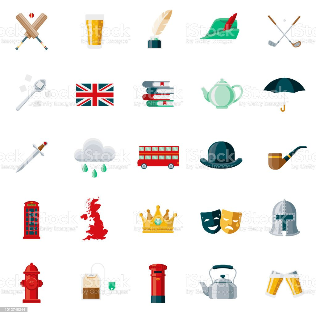 e9a0556a1b7ea United Kingdom Flat Design Icon Set Stock Vector Art   More Images ...