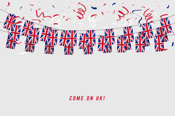 united kingdom garland flag with confetti on gray background, hang bunting for uk celebration template banner. - культура великобритании stock illustrations