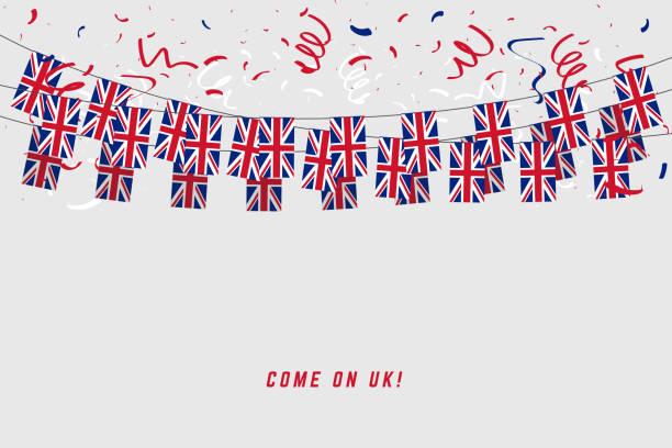 회색 배경에 색종이와 영국 갈 랜드 국기 깃발 영국 축 하 배너 서식 파일에 대 한 만요. - 영국 국기 stock illustrations