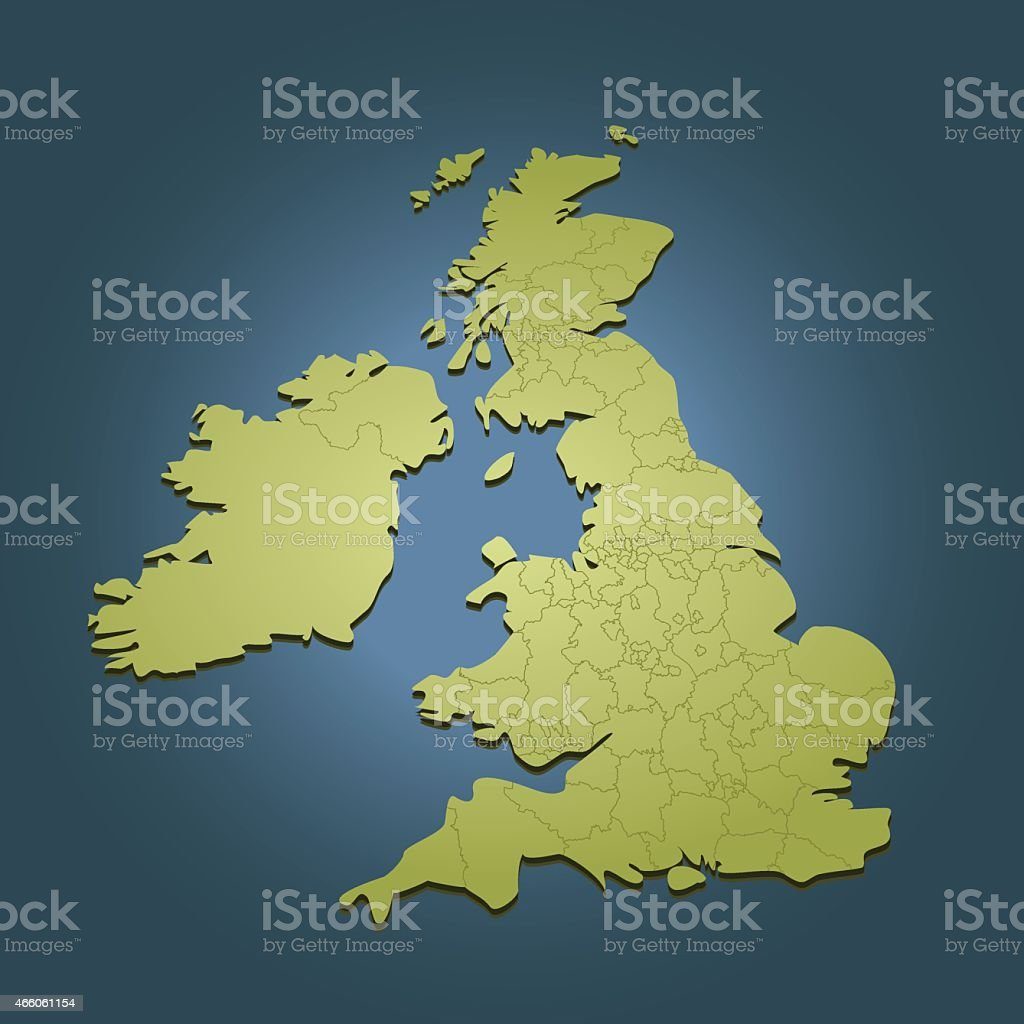 United Kingdom green map on dark background in perspective view vector art illustration