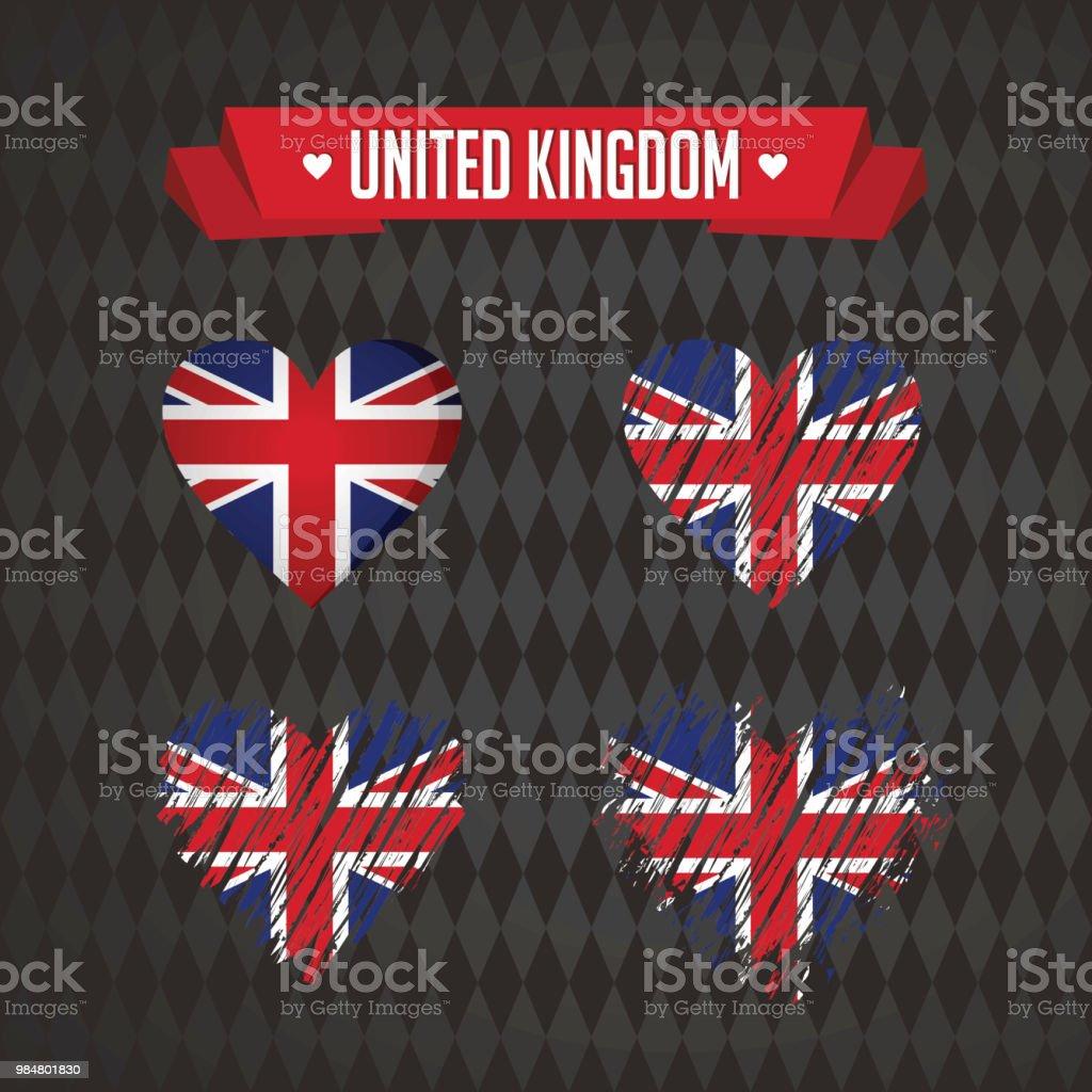 United Kingdom Heart With Flag Inside Grunge Vector Graphic Symbols