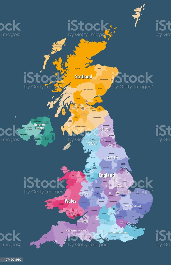 United Kingdom High Detailed Vector Map With Administrative
