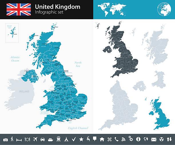 united kingdom - infographic map - illustration - wales stock illustrations, clip art, cartoons, & icons