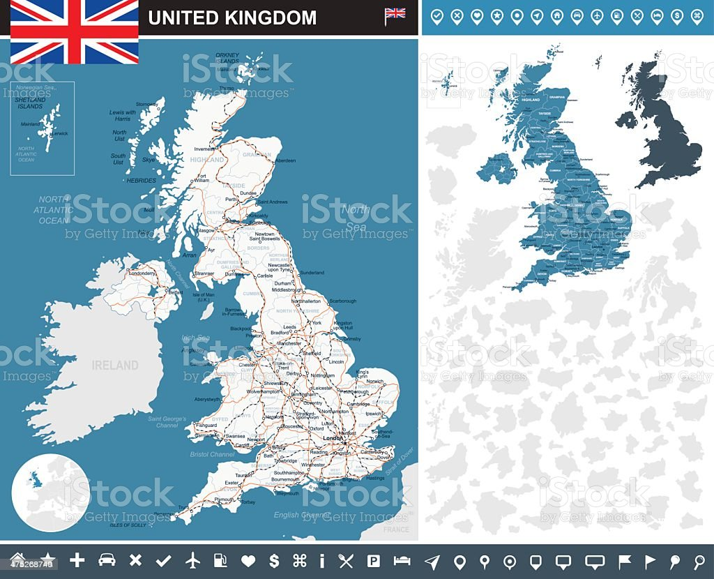 United Kingdom infographic map - illustration vector art illustration