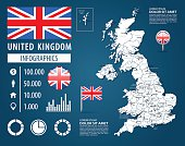 Vector map of Great Britain with variable specification and icons