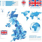 Vector maps of Great Britain with variable specification and icons