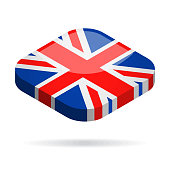 United Kingdom - Isometric 3D Flag Vector Glossy Icon