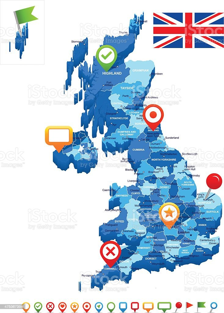 United Kingdom map 3D, flag and navigation icons - illustration vector art illustration